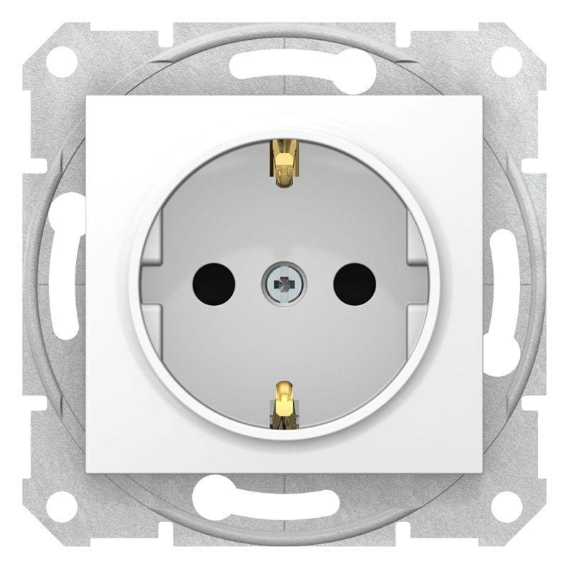 Механизм розетки 1-м СП Sedna 16А IP20 250В с заземл. защ. шторки бел. SchE SDN3000121