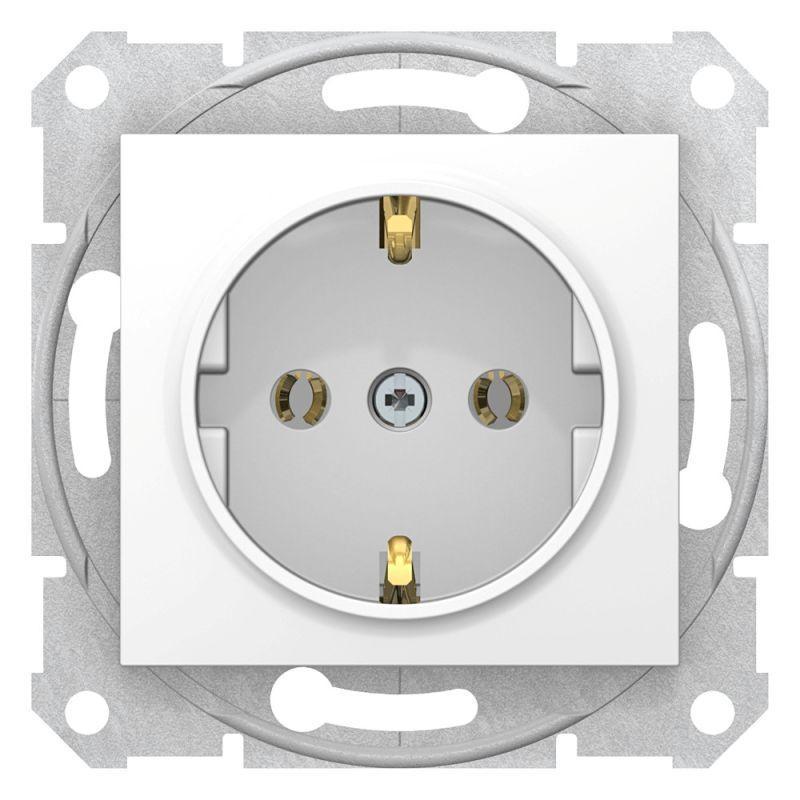 Механизм розетки 1-м СП Sedna 16А IP20 250В с заземл. без защ. шторок бел. SchE SDN3000521