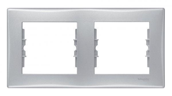 Рамка 2-м Sedna горизонт. алюм. SchE SDN5800360
