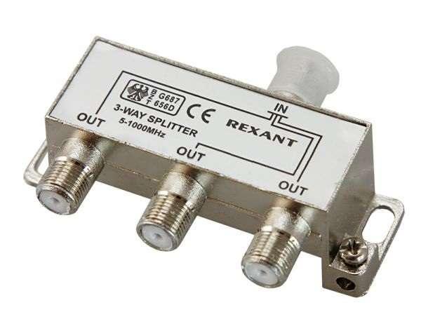 Делитель ТВ краб; х3 под F разъем 5-1000 МГц Rexant 05-6002