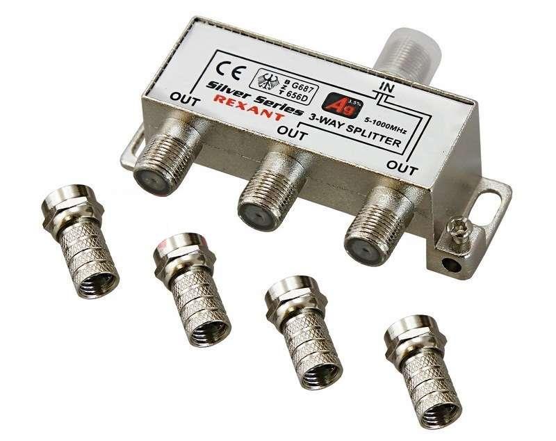 Делитель ТВ краб; х3+4шт.F ;BOX; 5-1000 МГц ;Silver; Rexant 05-6102