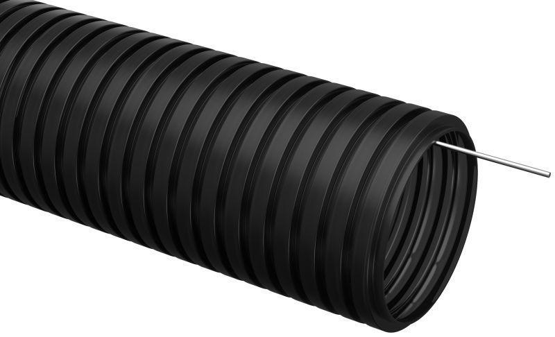 Труба гофрированная ПНД d16мм с протяжкой черн. (уп.100м) IEK CTG20-16-K02-100-1
