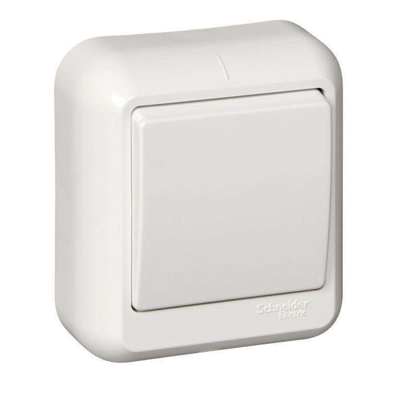 Выключатель 1-кл. ОП Прима 6А IP20 250В с монтаж. пластиной бел. (опт. упак.) SchE A16-051M-B