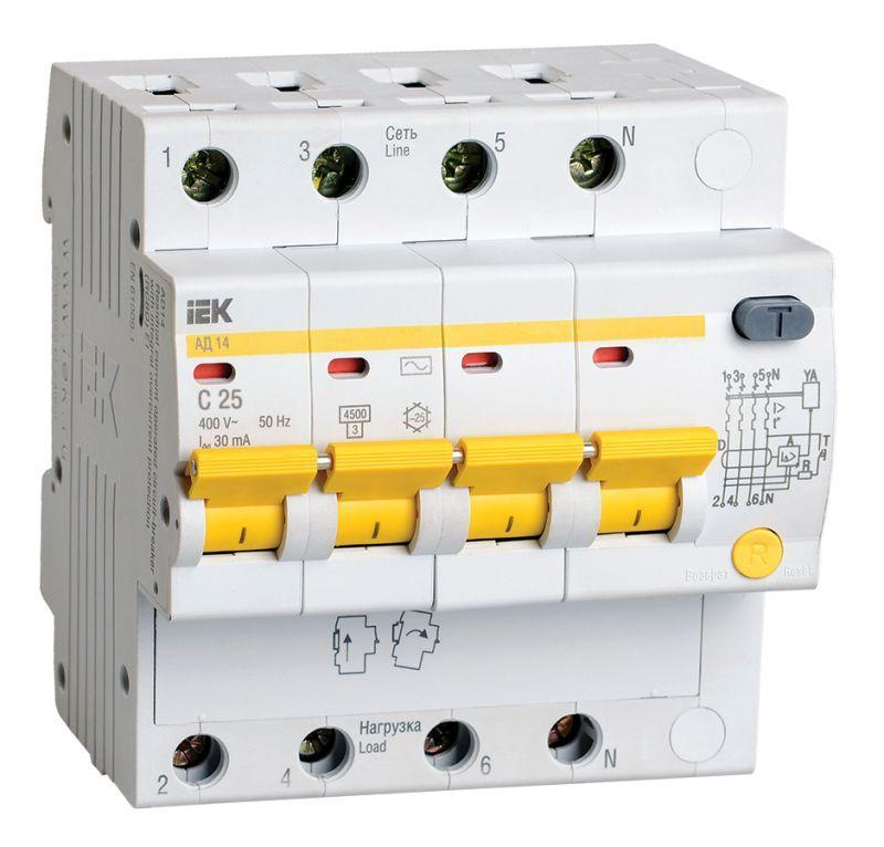Выключатель автоматический дифференциального тока 4п C 25А 30мА тип AC 4.5кА АД-14 IEK MAD10-4-025-C-030
