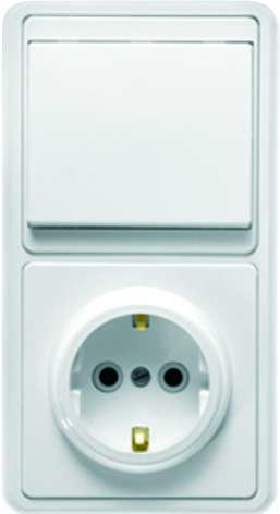 Блок БКВР-031 Бэлла (1-кл. выкл. + розетка с заземл.) бел. Кунцево 5819
