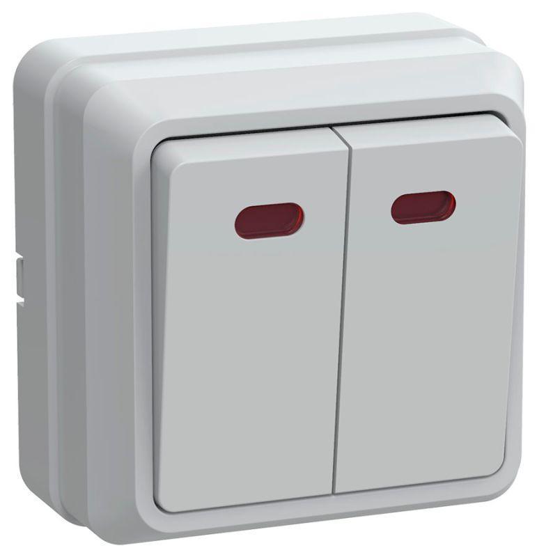 Выключатель 2-кл. ОП Октава 10А IP20 ВС20-2-1-ОБ с индикацией бел. IEK EVO21-K01-10-DC