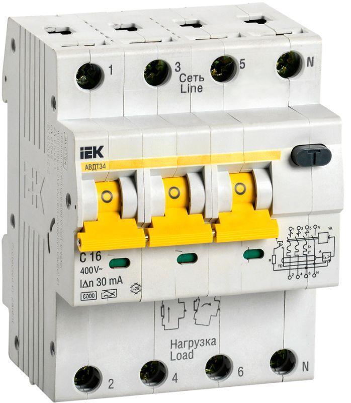 Выключатель автоматический дифференциального тока 4п (3P+N) C 16А 30мА тип A 6кА АВДТ-34 IEK MAD22-6-016-C-30
