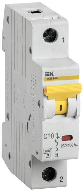 Выключатель автоматический модульный 1п C 10А 6кА ВА47-60M IEK MVA31-1-010-C