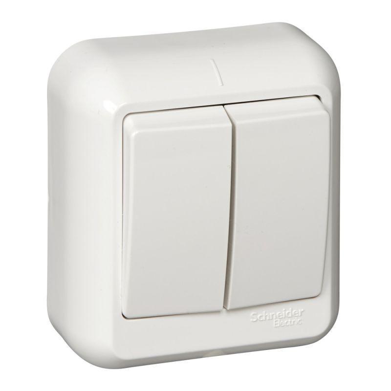 Выключатель 2-кл. ОП Прима 6А IP20 с монтаж. пластиной бел. (опт. упак.) SchE A56-029M-B