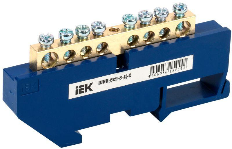 Шина нулевая на DIN-изол. ШНИ 6х9-8-Д-С IEK YNN10-69-8D-K07