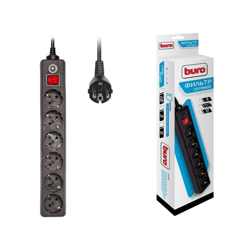 Удлинитель с сетевым фильтром 6х3м с заземл. 10А IP20 600SH-3-B CCA 2200Вт черн. BURO 992272