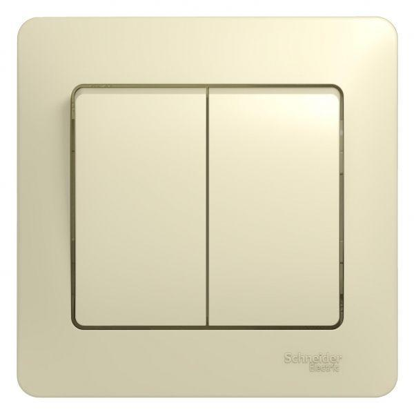 Выключатель 2-кл. СП Glossa 10А IP20 (сх. 5) 10AX в сборе беж. SchE GSL000252