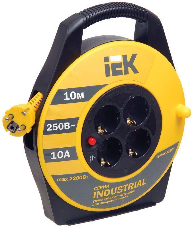 Удлинитель на катушке 4х10м с заземл. 10А IP20 УК10 ;Industrial; с термозащ. 3х1 IEK WKP14-10-04-10