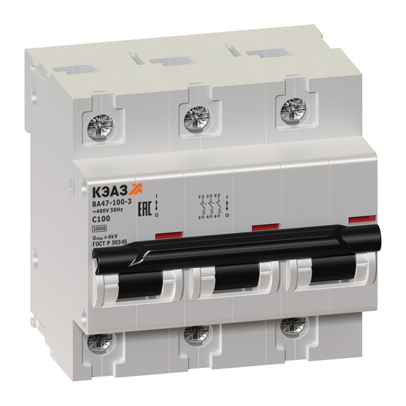 Выключатель автоматический модульный 3п C 100А 10кА ВА47-100-3С100-УХЛ3 КЭАЗ 141630