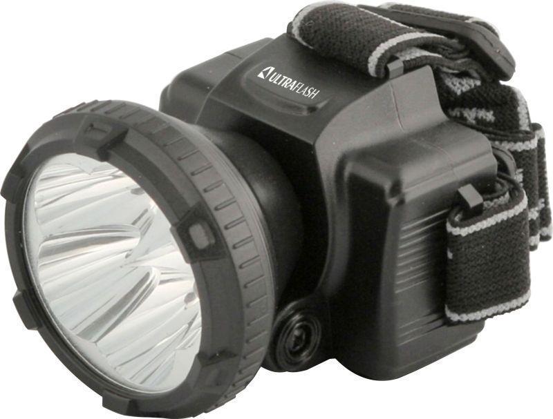 Фонарь налобный аккумуляторный LED 5365 (220В 5LED 2 режима  черн.) Ultraflash 11648