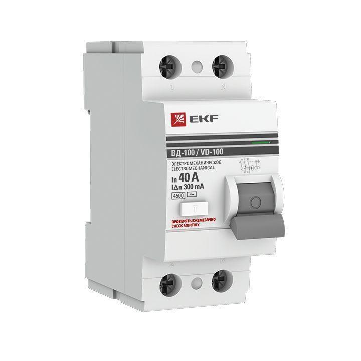 Выключатель дифференциального тока (УЗО) 2п 40А 300мА тип AC ВД-100 (электромех.) PROxima EKF elcb-2-40-300-em-pro