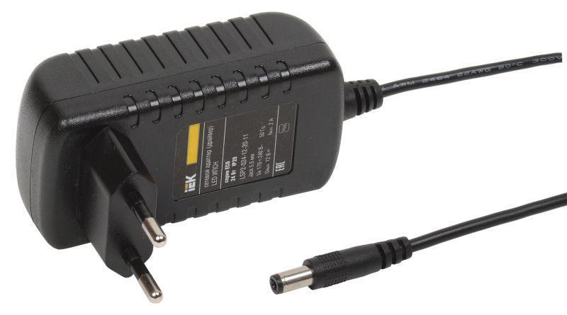 Драйвер LED ИПСН ECO 3528 24Вт 12В адаптер-JacK 5.5мм IP20 IEK LSP2-024-12-20-11