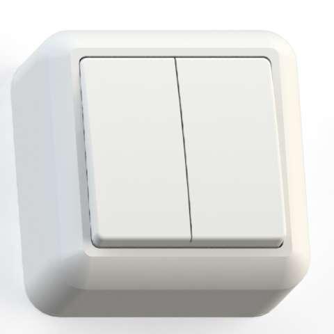 Выключатель 2-кл. ОП Оптима 10А IP20 А510-380 с монтаж. пластиной сл. кость Кунцево 8033