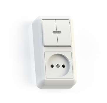 Блок комбинированный ОП БКВР-431 Оптима (2-кл. выкл. с подсветкой + розетка) бел. Кунцево 8063