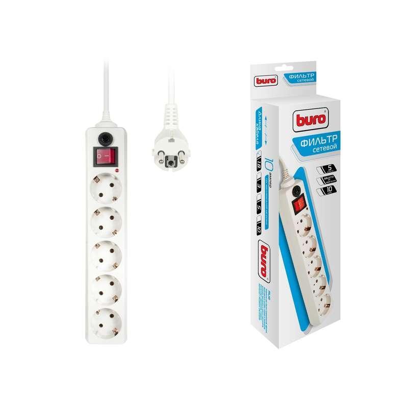 Удлинитель с сетевым фильтром 5х1.8м с заземл. 10А IP20 500SH-1.8-W CCA 2200Вт бел. BURO 992284