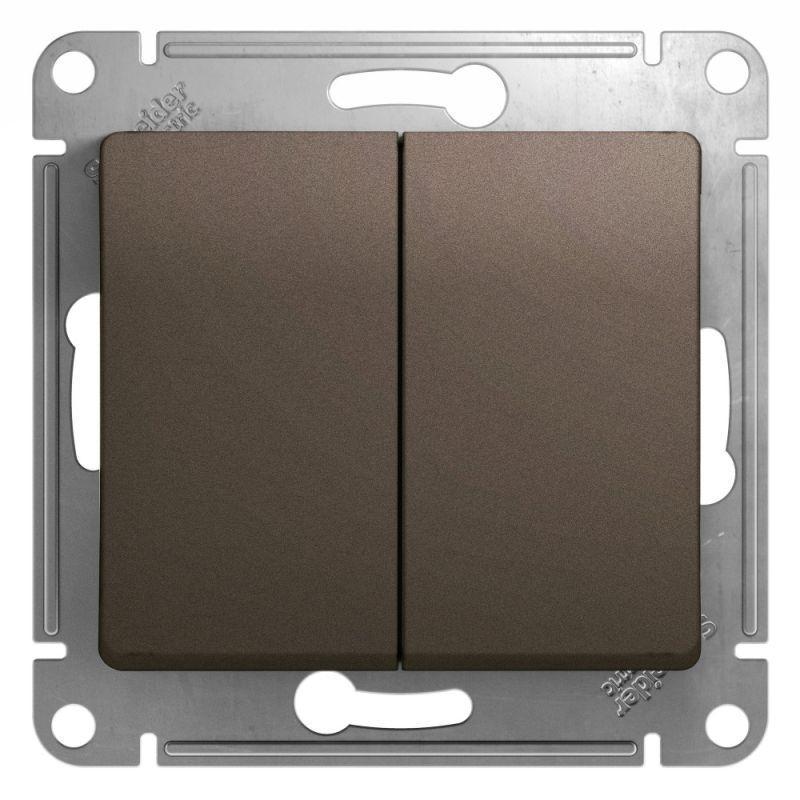 Механизм выключателя 2-кл. СП Glossa 10А IP20 (сх. 5) 10AX шоколад. SchE GSL000851
