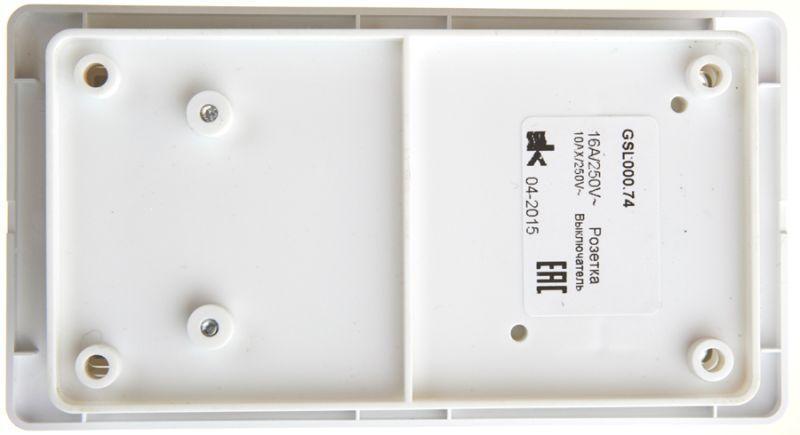 Блок комбинированный GLOSSA розетка защ. шторки с заземл.+ выкл. 2кл. бел. SchE GSL000174