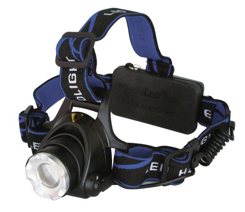 Фонарь налобный E150 (аккум. 220В CREE 3Вт пласт. бокс  черн.) Ultraflash 12188