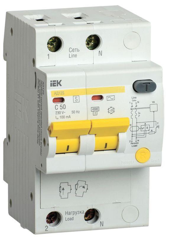 Выключатель автоматический дифференциального тока селективный 2п 50А 100мА тип AC АД12S IEK MAD13-2-050-C-100