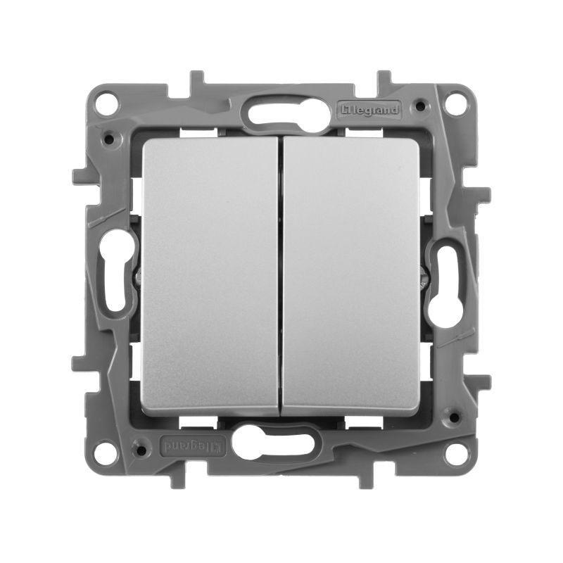 Механизм выключателя 2-кл. СП Etika 10А IP20 250В 10AX авт. зажимы алюм. Leg 672402