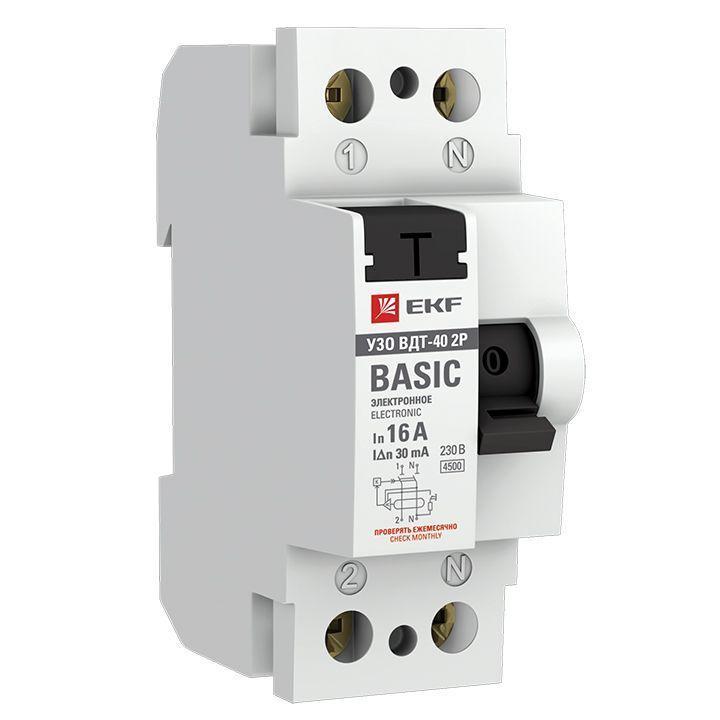 Выключатель дифференциального тока (УЗО) 2п 16А 30мА тип AC Basic электрон.EKF elcb-2-16-30e-sim