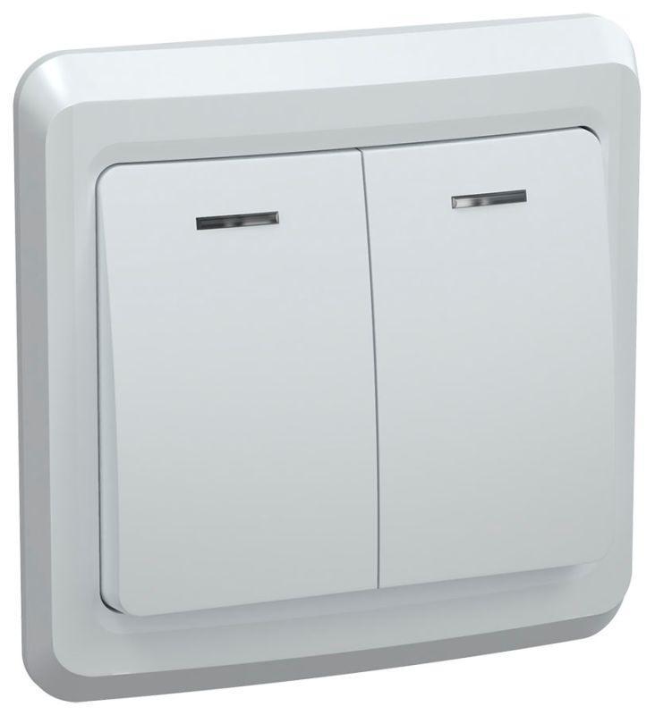 Выключатель 2-кл. СП Вега 10А IP20 ВС10-2-1-ВБ с индикацией бел. IEK EVV21-K01-10-DM