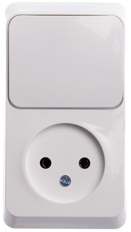 Блок ОП Этюд (1-м розетка без заземления + 1-кл. выкл.) бел. SchE BPA16-204B