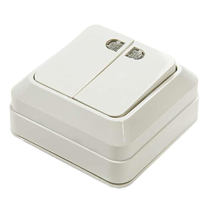 Выключатель 2-кл. ОП Bolleto 10А IP20 7123 накладной с подсветкой бел. ASD / IN HOME 4680005959778