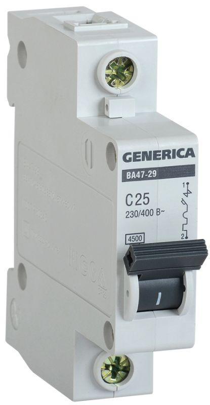 Выключатель автоматический модульный 1п C 25А 4.5кА ВА47-29 GENERICA IEK MVA25-1-025-C