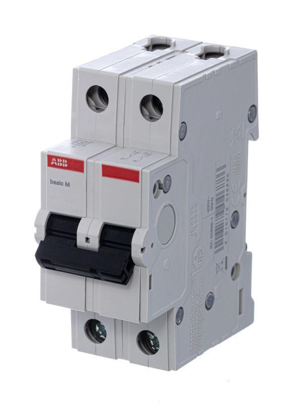 Выключатель автоматический модульный 2п C 63А 4.5кА Basic M BMS412C63 ABB 2CDS642041R0634