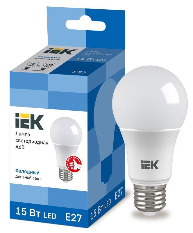 Лампа светодиодная ECO A60 15Вт грушевидная 230В 6500К E27 IEK LLE-A60-15-230-65-E27