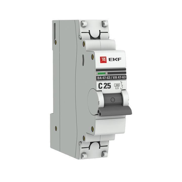 Выключатель автоматический модульный 1п C 25А 4.5кА ВА 47-63 PROxima EKF mcb4763-1-25C-pro
