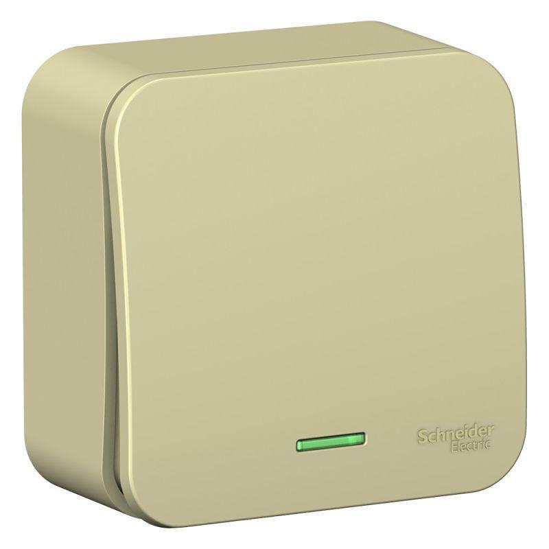 Выключатель 1-кл. ОП Blanca 10А IP20 (сх. 1) 250В с подсветкой с изолир. пластиной беж. SchE BLNVA101117