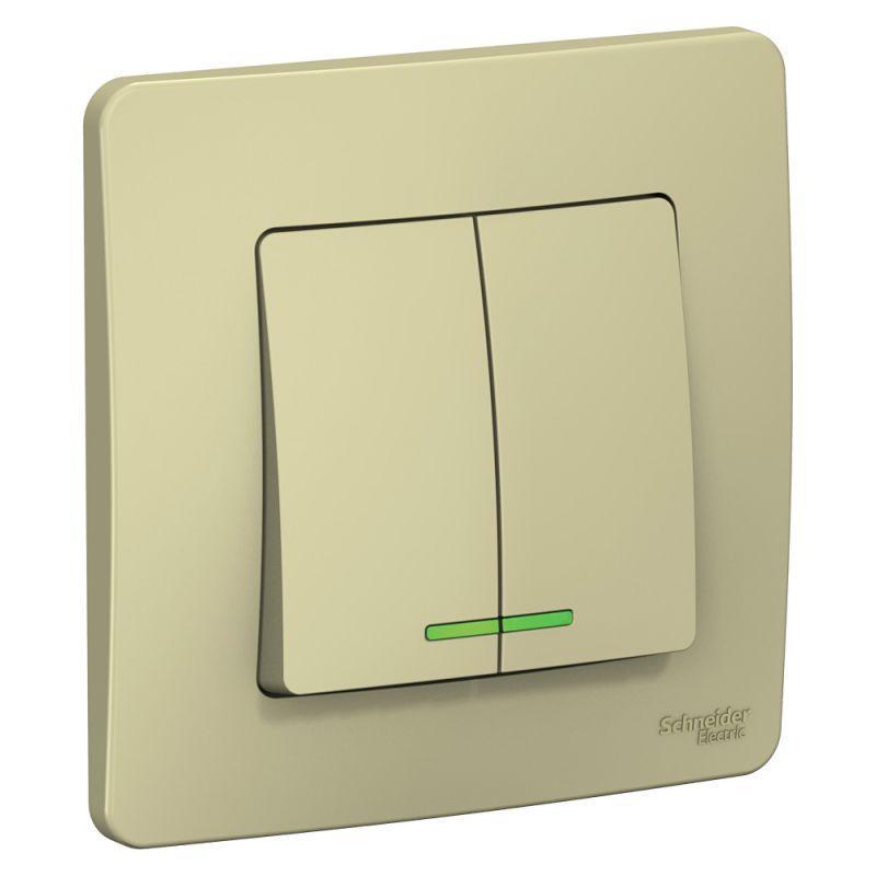 Выключатель 2-кл. СП Blanca 10А IP20 (сх. 5) 250В с подсветкой беж. SchE BLNVS010517