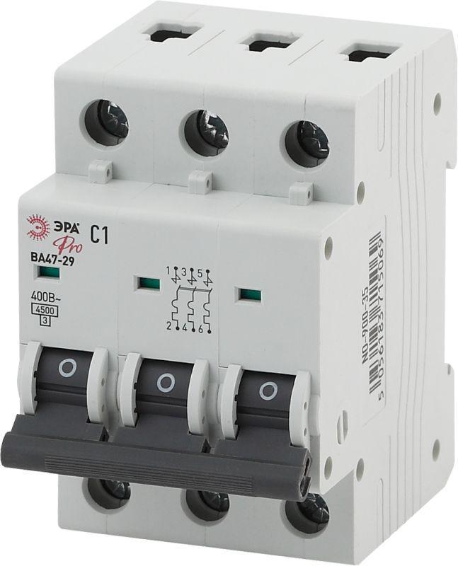 Выключатель автоматический модульный 3п C 25А ВА47-29 Pro NO-900-46 ЭРА Б0031778
