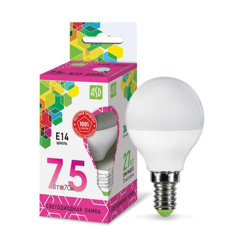 Лампа светодиодная LED-ШАР-standard 7.5Вт 230В E14 6500К 675Лм ASD 4690612019017