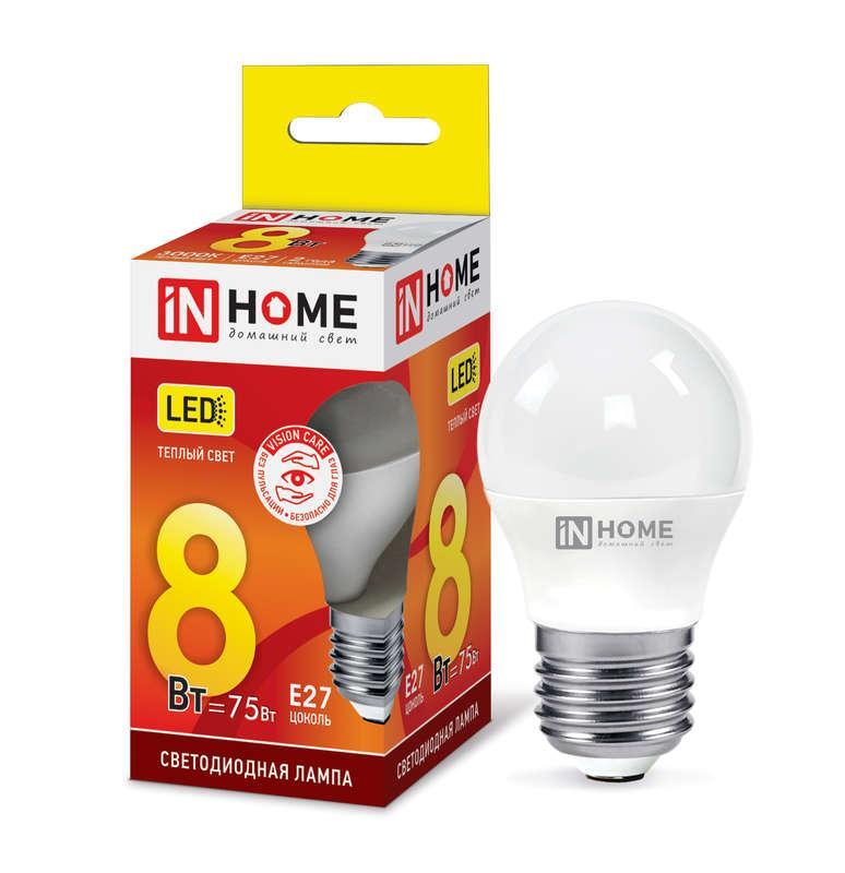 Лампа светодиодная LED-ШАР-VC 8Вт 230В E27 3000К 720лм IN HOME 4690612020563