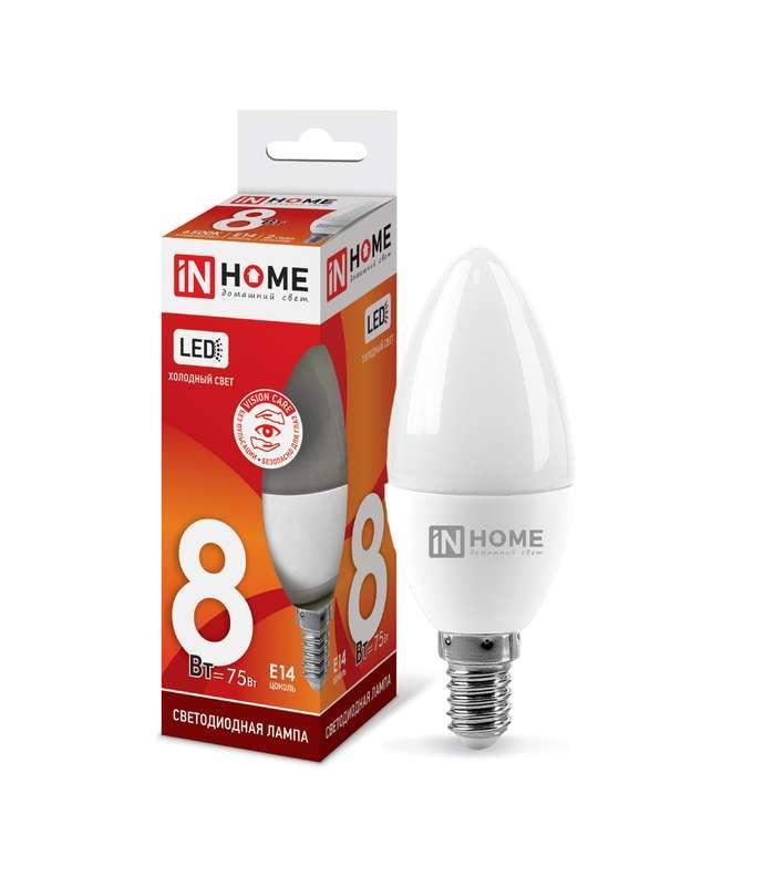 Лампа светодиодная LED-СВЕЧА-VC 8Вт 230В E14 6500К 720лм IN HOME 4690612024806