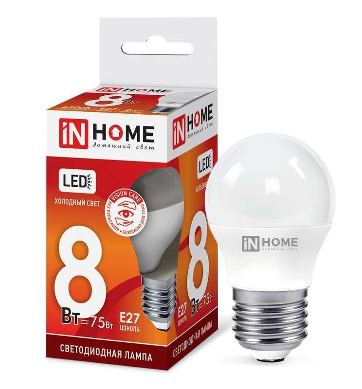 Лампа светодиодная LED-ШАР-VC 8Вт 230В E27 6500К 720лм IN HOME 4690612024905