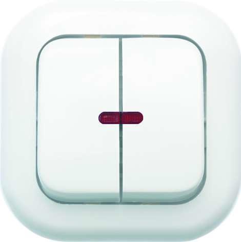 Выключатель 2-кл. СП Валентина 10А IP20 С56-175 с индикацией бел. Кунцево 7649