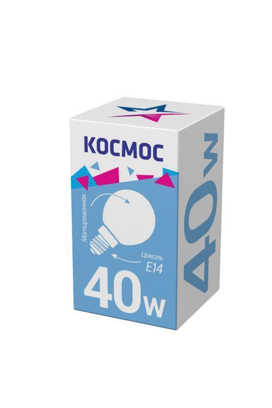 Лампа накаливания 40Вт шар матовая E14 КОСМОС LKsmSSpFr40E14 v2