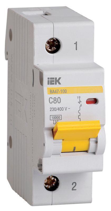Выключатель автоматический модульный 1п C 80А 10кА ВА47-100 IEK MVA40-1-080-C