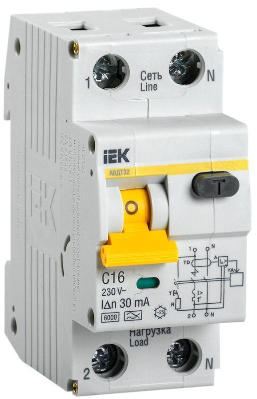 Выключатель автоматический дифференциального тока 2п (1P+N) C 16А 30мА тип A 6кА АВДТ-32 IEK MAD22-5-016-C-30