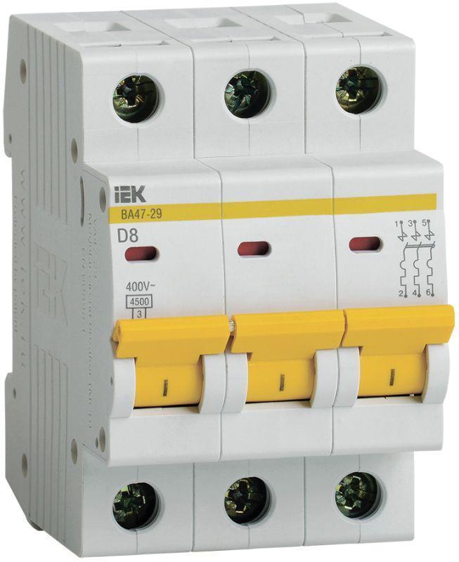 Выключатель автоматический модульный 3п D 8А 4.5кА ВА47-29 IEK MVA20-3-008-D