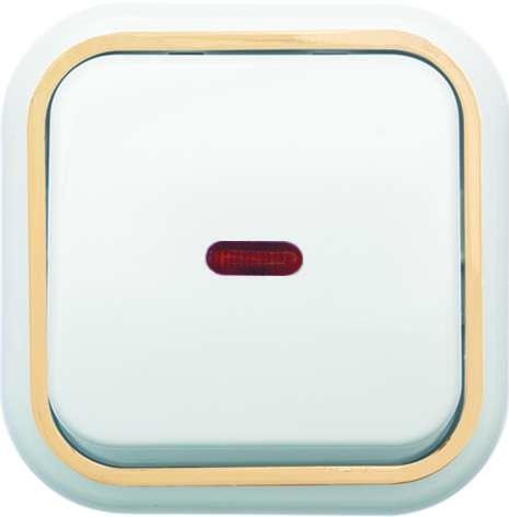 Выключатель 1-кл. ОП Валентина 10А IP20 А16-054 с индикацией бел./зол. Кунцево 7633